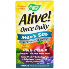 Alive! Once Daily, Men's 50+, Multi-Vitamin, 60 tabletten