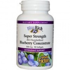 BlueRich, Super Strength, bosbes-concentraat, 500 mg, 90 capsules